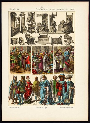 Antique Print-MIDDLE AGES-NETHERLANDS-HOLLAND-FLANDERS-COSTUME-Hottenroth-1884 -