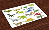 Lunarable Boy's Room Place Mats Set of 4, Cartoon Dinosaur Images with Other Elements from Jurassic Fauna Cute Creatures, Washable Fabric Placemats for Dining Room Kitchen Table Decoration, Multicolor