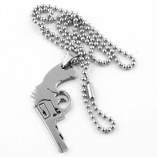 "PiercingJ Fashion Stainless Steel Gun Pistol Bead Pendant Ball Chain Men's Necklace 19""l"