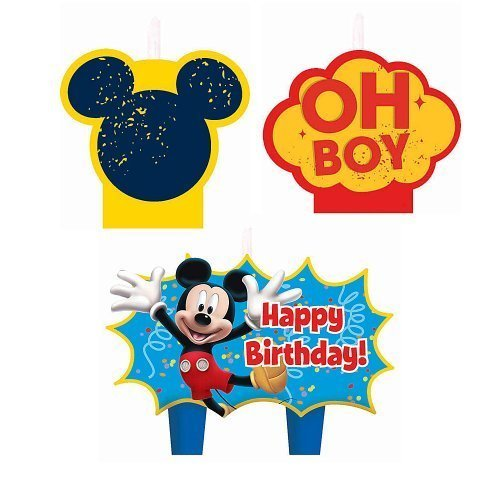 Mickey Mouse Birthday Candles - Birthday and Theme Party Supplies - 4 Per Pack ()
