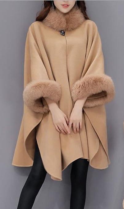 Mantel Ärmel Pelz Long Damen Hooded Faux Strickjacke Lange BQxoreCWd