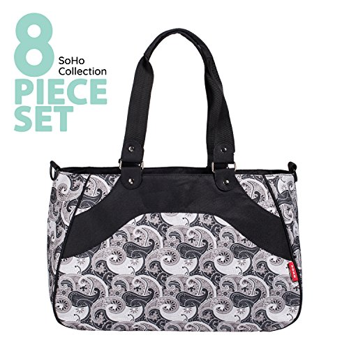 SoHo diaper bag All In One 7 pieces set nappy tote bag large capacity for baby mom dad stylish insulated unisex multifunction waterproof includes changing pad stroller straps Black Charcoal Paisley - Paisley Stroller Bag