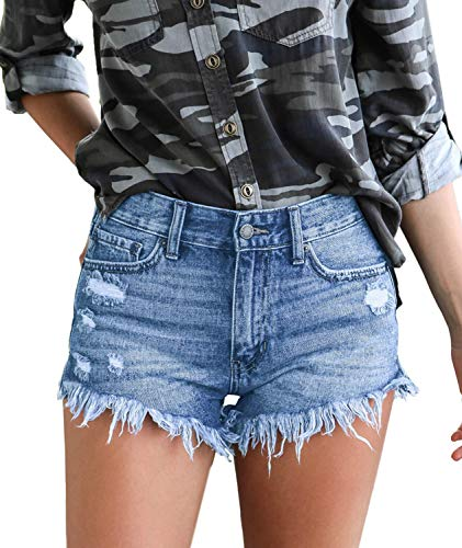 Luodemiss Women's High Waist Casual Distressed Tassel Denim Shorts High-Rise Junior Retro Jeans Ripped Shorts,4/6=Tag Size M Washed Light ()