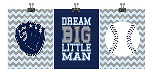 Baseball Nursery Decor Print Set of 3 - Dream Big Little Man - Baby Boy Nursery Chevron Navy Blue Gray - Playroom Kid's Art - Multiple Sizes