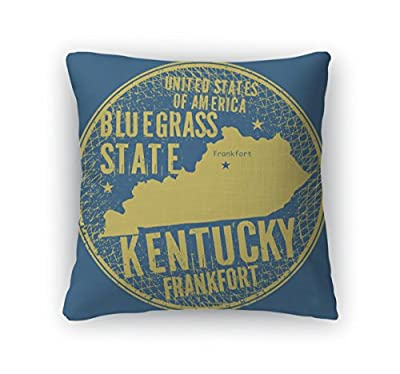 Gear New Throw Pillow Accent Decor, Grunge Vintage Round Stamp With Text Frankfort Kentucky, 6601831GN