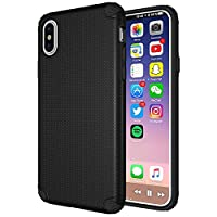 iPhone X Case, iPhone 10 Case,Vabogu Heavy Duty Drop Protection Slim Protective Case Shockproof Leather Casefor Apple iPhone X (2017) (Black)