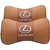 レクサス LEXUS ネックパッド ヘッドレスト 1セット 2個入 [並行輸入品] 車内装 カーアクセサリ 首枕 低反発 4色 (ブラウン)