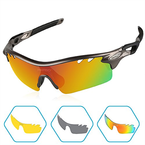 AKASO Men's Tripolar Sport Sunglasses, 3 Polarized Interchangeable Lenses, 100% UV Protection, Cycling Sunglasses (Gunmetal - 3 Lens Sunglasses Cycling