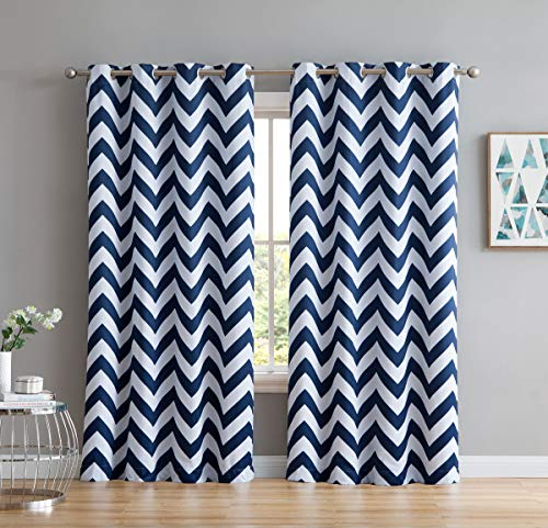 HLC.ME Chevron Print Thermal Insulated Energy Efficient Room Darkening Blackout Window Curtain Grommet Top Panels for Bedroom & Nursery - Set of 2 - 52