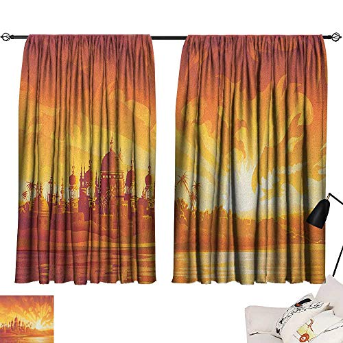 Warm Family Asian Sliding Curtains Golden City Under Dragon Fire Sky Palace Mythical Magical Legendary City Scenery Set of Two Panels 63