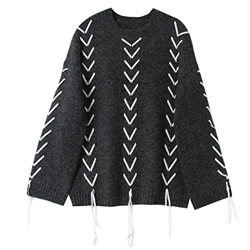 JIAKENVDE Winter Simple Round Neck Pullover Sweater Female Cross Strap Wind Sweater