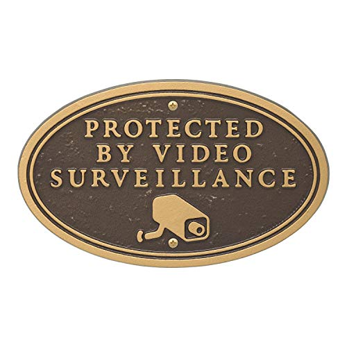Whitehall Products Surveillance Camera Oval Wall/Lawn Statement Plaque Bronze/Gold