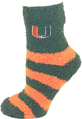 Miami Hurricanes Striped Fuzzy Lounge Socks ()