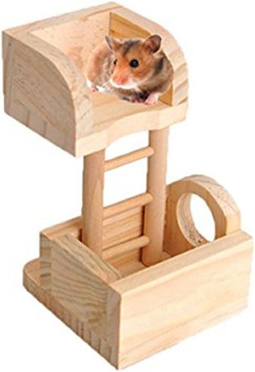 Jingyuu - Casa de Juguete con Escalera de Madera Natural para hámster pequeños Animales: Amazon.es: Productos para mascotas