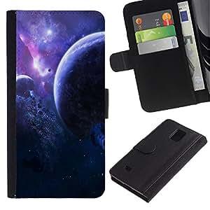Ihec-Tech / Flip PU Cuero Cover Case para Samsung Galaxy Note 4 SM-N910 - Space Planet Galaxy Stars 2