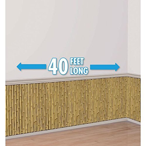 Amscan Sun-Sational Summer Luau Party Bamboo Scene Setter Room Roll, Bamboo Brown, 47.24 inches x 480.315 inches