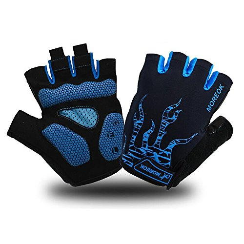 Cycling Motorcycle Gloves Breathable Half Finger Mountain Bike Gloves Bicycle Shockproof Gel Outdoor Sports Short Riding Gloves Working Gloves Anti-slip for Men Women Kids (Blue, M)