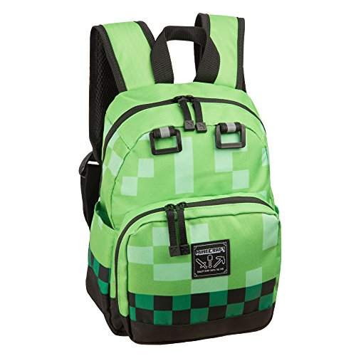 """Price comparison product image Minecraft 12"""" Creeper Kids Mini Backpack - Green"""