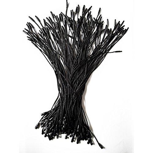 LGEGE 500 pcs 7.5-inch Black Hang Tag Nylon String Snap Lock Pin Loop Fasteners Hook Ties
