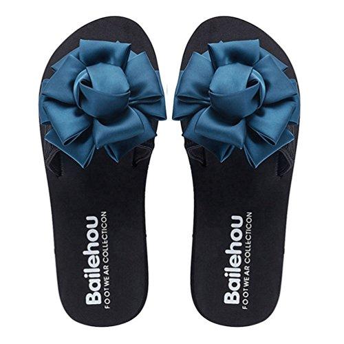 Bleu d'été Forme Pantoufles Plein Femmes air Bohème Plage Les Glisser Plate en JRenok Fleur Mode sur de Sandales XT1xwwqBO