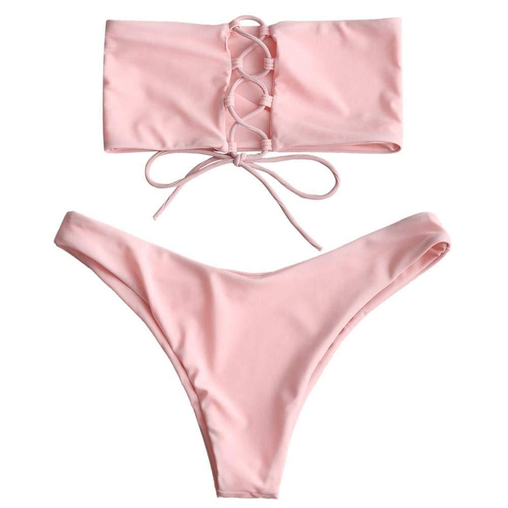 Amphia Mujer Traje De Bao Bikini, Bandeau Womens Bandaje Bikini Set Push-Up Brazilian Swimwear Bañador de Playa: Amazon.es: Ropa y accesorios