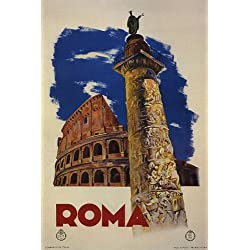 ROMA ROME COLOSSEUM TRAVEL TOURISM ITALY ITALIA ITALIAN VINTAGE POSTER REPRO