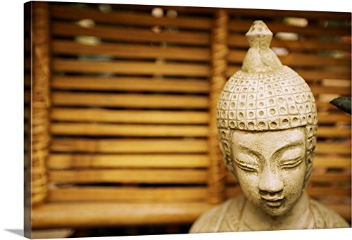 Solitude Garden Statue - Canvas on Demand Premium Thick-Wrap Canvas Wall Art Print entitled Garden Buddha Statue 48