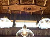glass shade pendant live edge timber chandelier