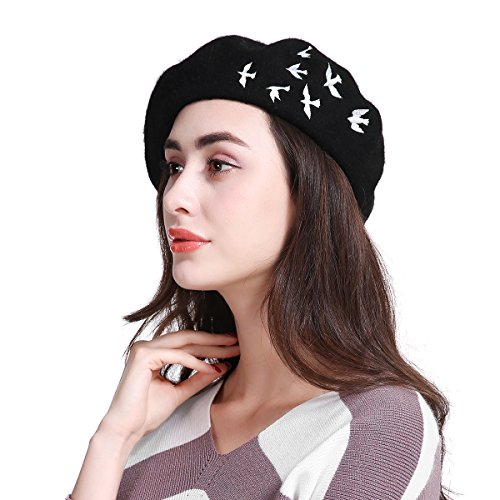 JOOWEN-Womens-Vintage-Plain-Beret-Hat-Girls-Wool-Warm-Beanie-Cap