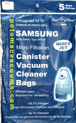 Samsung Canister Quiet Jet & Quiet Storm Series 9000 Bags Dust Care Brand (5 bags) (Samsung Jet)