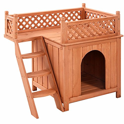 Wooden Puppy Pet Dog House Wood Room In/Outdoor Raised Roof Balcony Bed Shelter Ships from USA