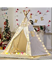 Dalos Dream 5 Poles Gaint Kids Teepee Tent -100% Natural Canvas Children Play Tent-Lace …