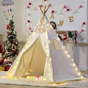Dalos Dream 5 Poles Gaint Kids Teepee Tent -100% Natural Canvas Children Play Tent-Lace …