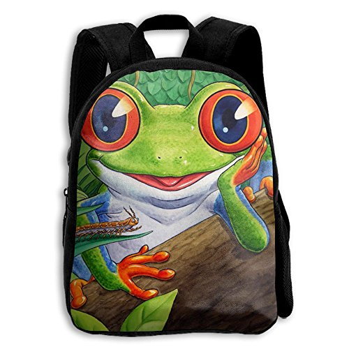 AHOOCUSTOM Frog 3D Print Custom Unique Casual Backpack Schoolbag Shoulder Bag For Boys Teen Girls Kids
