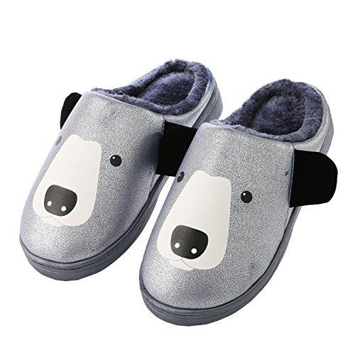 Dibujos animados cuero de la PU familia zapatillas de casa-Unisexo invierno calentar felpa Botín con los zapatos Azul oscuro
