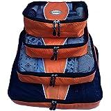 Evatex Luxury Packing Cubes, 4 Pcs Set (Orange), with Laundry, Shoe Bag