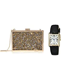 Women's 'Matching Crystal Clutch' Quartz Metal and Leather Dress Watch, Color Black (Model: PB005G-ST)