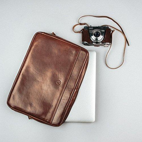 Maxwell Scott Luxury Handmade Italian Leather Laptop / Macbook Sleeve 15 inch (The Verzino) - One Size by Maxwell Scott Bags (Image #6)
