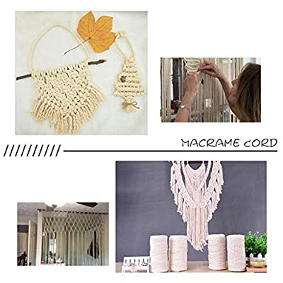 JSPOYOU 2mm x 200m Macrame Cotton Cord for Wall Hanging Dream Catcher Rice White: Clothing