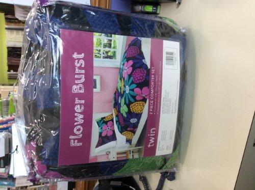Flower Burst Twin Black 2 Piece Comforter Set - Flower Burst Comforter