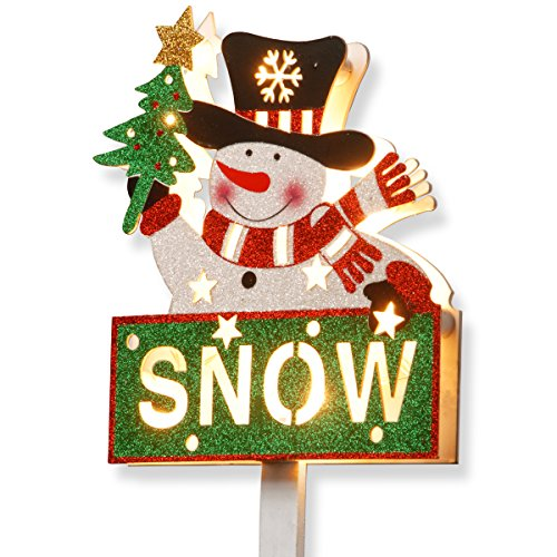 National Tree 35 Inch Wood Look Double Sided Snowman and Snow Sign with 10 Warm White Battery Operated LED Lights (MZC-1315)