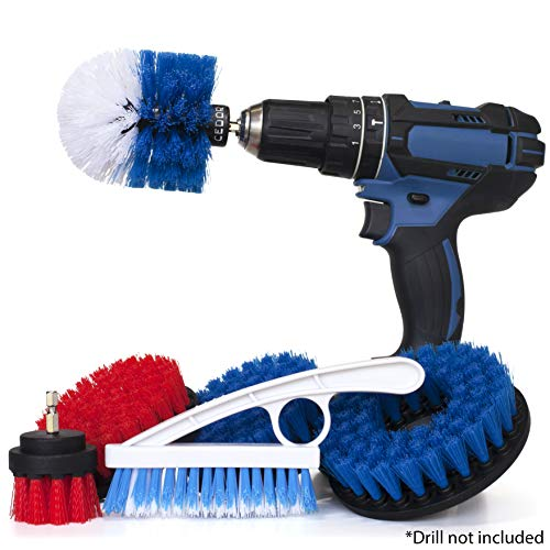 6 Piece Drill Scrub Brush Attachment Set for Shower, Tub, Tile, and Grout Cleaning - All Purpose Power Scrubber Drill Bit Brushes Medium and Stiff also for Bathroom, Kitchen, and Floor Surfaces