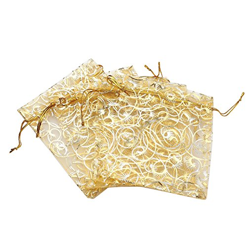 Wedding Favor Bags (Anleolife 100pcs Gold Sheer Organza Wedding Favor Bags Jewelry Gift Bags Bathroom Soaps Nail Polish Potpourri Organzer Business Samples Display Drawstring Pouches Party Baby Shower Favors 4.7x3.5 inch(gold with print))