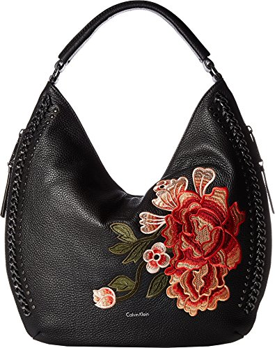 Calvin Klein Womens Flower Embroidery Hobo Flower One Size by Calvin Klein