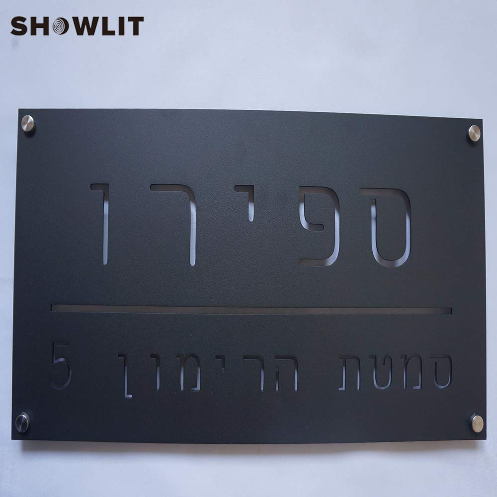 Showlit 3mm Thickness Big Custom Plate Powder Coated Black Office Signs Laser Cutting Modern Design Name Door Plaques