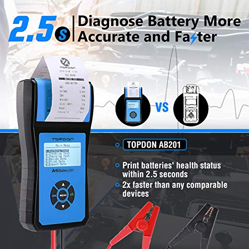 Battery Tester TOPDON AB201 Battery Analyzer 12V/24V 100-2000 CCA with Cranking/Charging/Battery Tests, Data Printing/Export/Review Functions for DIYers and Garages Battery Load Tester –Black and Blue by TT TOPDON (Image #5)
