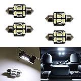 "iJDMTOY (4) Xenon White 6-SMD-5630 1.25"" 31mm LED Bulbs DE3175 DE3021 DE3022 For Car Interior Dome Lights, Cargo Area Trunk Room Lights, etc"