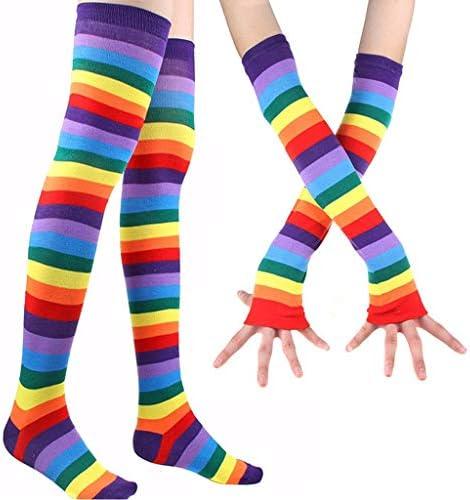 AIUII handschoenen winter vrouwen regenboog gestreepte dijen hoge lange sokken armwarmers vingerloze handschoenen set