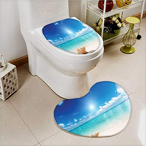 aolankaili 2 Piece Toilet Cover Set and Pearls On Sandy Tropical Dreamiest Coastal Charm Cream Non-Slip Soft Absorbent Heart Shaped Foot pad