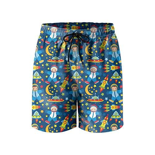 YTBITOKTL Blue Cute Girls Astronaut Men Swim Slim Fit Microfiber Holiday -
